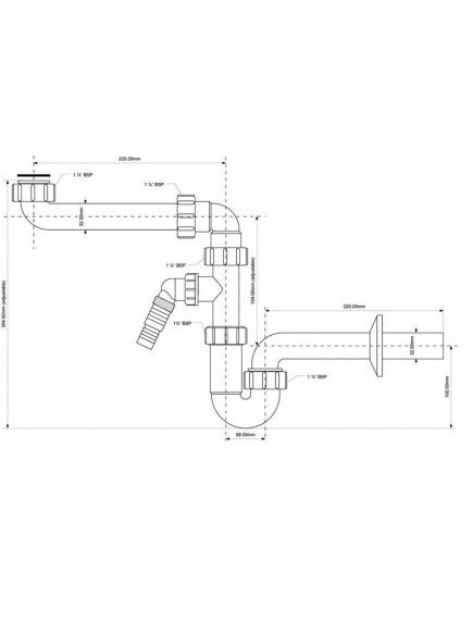 Mc Alpine HC csőszifon, 5/4-32mm hosszú cső bekötés, mosógép csatlakozó, helytakarékos