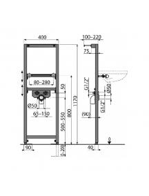 AlcaPlast A104 szerelőkeret mosdóhoz A104/1200