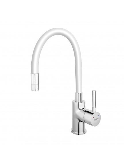 Ferro Zumba egykaros mosogató csaptelep elasztikus fehér kifolyócsővel BZA4W