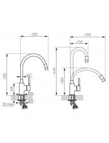 Ferro Zumba egykaros mosogató csaptelep elasztikus bézs kifolyócsővel BZA4P