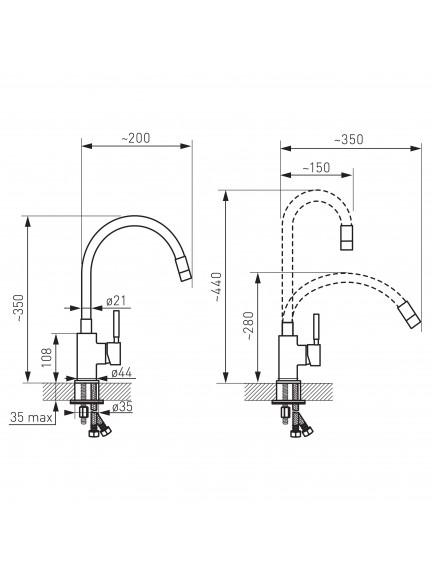 Ferro Zumba egykaros mosogató csaptelep elasztikus fekete kifolyócsővel BZA4B