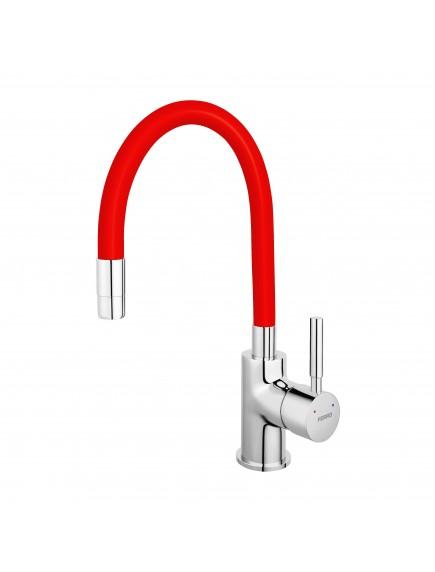 Ferro Zumba egykaros mosogató csaptelep elasztikus piros kifolyócsővel BZA4R
