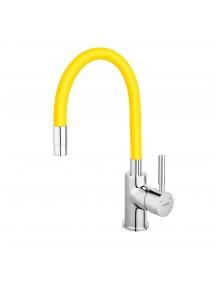 Ferro Zumba egykaros mosogató csaptelep elasztikus sárga kifolyócsővel BZA4C