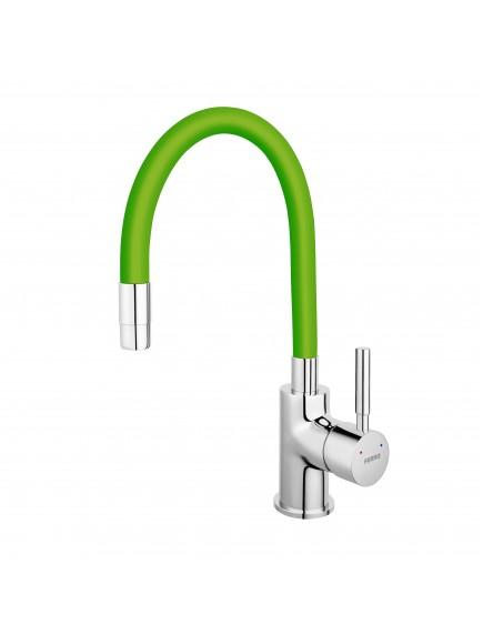 Ferro Zumba egykaros mosogató csaptelep elasztikus zöld kifolyócsővel BZA4G