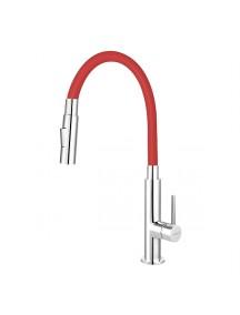 Ferro Zumba Slim 2F mosogató csaptelep piros színű elasztikus kifolyócsővel és gyümölcsmosó funkcióval BZA43R
