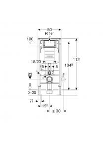 Geberit Duofix fali WC szerelőelem 112 cm, Sigma 12 cm-es falsík alatti öblítőtartállyal (UP320) 111.300.00.5