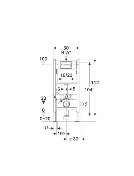 Geberit DuofixBasic fali WC szerelőelem 112 cm, Delta 12 cm-es falsík alatti öblítőtartállyal (UP100) 111.153.00.1