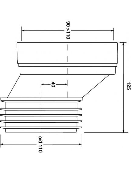 Mc Alpine HC Wc bekötőcső, excenteres, 40x100x110x125mm, 4cm eltolt