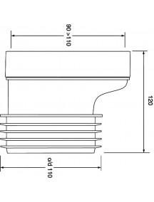 Mc Alpine HC Wc bekötő, 120mm, excenteres