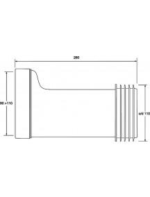Mc Alpine HC Wc bekötőcső, egyenes, 100X110X260MM, dn100