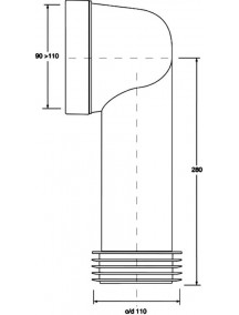 Mc Alpine HC Wc bekötőcső, 100-110x90, lamellált