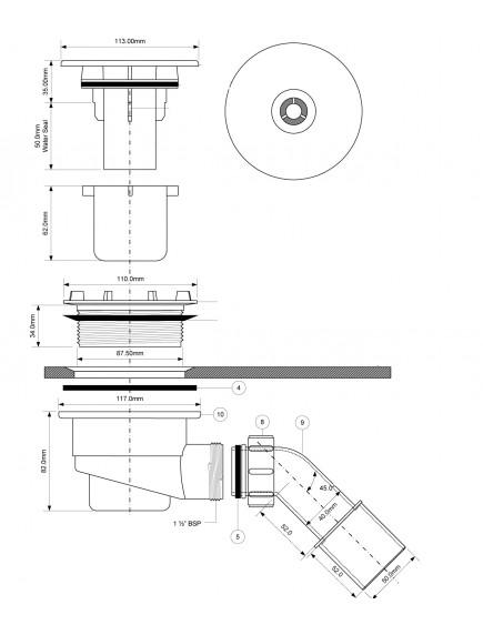 Mc Alpine HC zuhanyszifon 40/50+113mm, króm fedél
