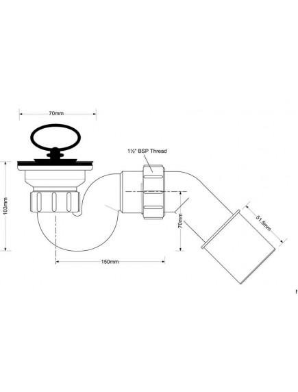 """Mc Alpine HC25 zuhanytálca szifon 40mm, 6/4""""x70mm, fém leeresztőszeleppel"""