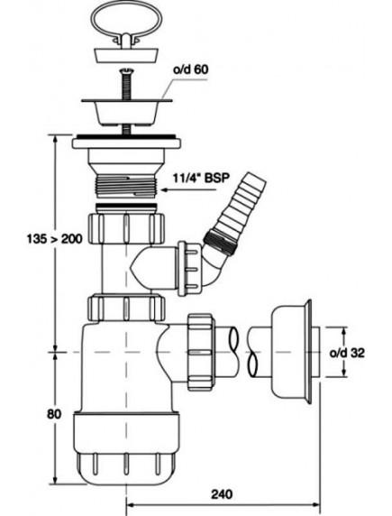 """Mc Alpine HC1LWM 5/4"""" - 32mm búraszifon mosógép csatlakozás, állítható leeresztővel"""