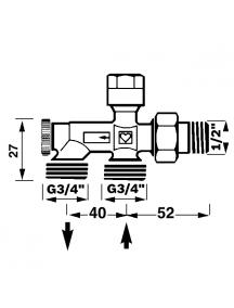 """Herz 1000 bypass szeleptest egycsöves fűtési rendszerre 1/2"""" - G3/4"""" 1 7187 11"""