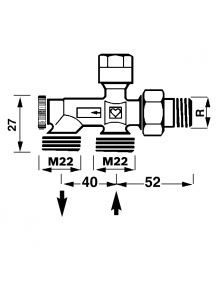 """Herz 1000 bypass szeleptest kétcsöves fűtési rendszerre 1/2"""" - M22 1 7186 11"""