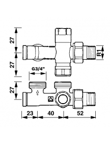 """Herz 1000 bypass szeleptest kétcsöves fűtési rendszerre 1/2"""" - G3/4"""" 1 7189 14"""