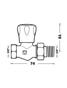 "Herz GP egyenes radiátorszelep 3/8"" BM 1 5523 20"
