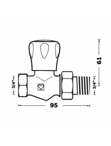 "Herz GP egyenes radiátorszelep 3/4"" BM 1 5523 22"
