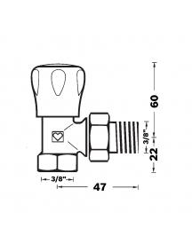 """Herz GP sarok radiátorszelep 3/8"""" BM 1 5524 20"""