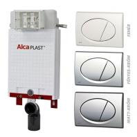 Alcaplast A100 nyomólapos WC szett - falba építhető WC tartály szerelőkeret nélkül, fényes-króm nyomólappal