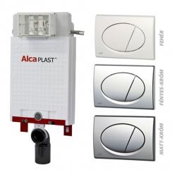 Alcaplast A100 nyomólapos WC szett - falba építhető WC tartály szerelőkeret nélkül, matt-króm nyomólappal