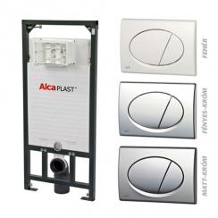 Alcaplast A101 nyomólapos WC szett - falba építhető WC tartály szerelőkerettel, fényes-króm nyomólappal