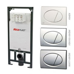 Alcaplast A101 nyomólapos WC szett - falba építhető WC tartály szerelőkerettel, matt-króm nyomólappal