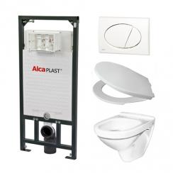 Alcaplast A101 WC szett - falba építhető WC tartály szerelőkerettel, fehér nyomólappal, csészével, ülőkével