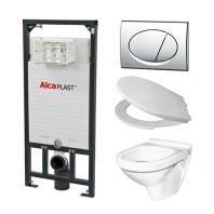 Alcaplast A101 WC szett - falba építhető WC tartály szerelőkerettel, fényes-króm nyomólappal, csészével, ülőkével