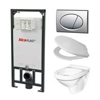 Alcaplast A101 WC szett - falba építhető WC tartály szerelőkerettel, matt-króm nyomólappal, csészével, ülőkével