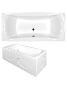M-Acryl Amanda kád, 160x75x43 cm - előlap nélkül, fehér színű