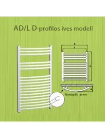 Radeco törölközőszárítós íves csőradiátor AD/L d-profilos 445x1630
