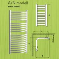 Radeco törölközőszárítós sarok csőradiátor A/N 400x1440 - 1240W