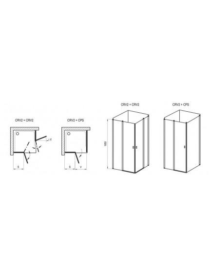 Chrome CRV2-120 zuhanykabin, krómhatású keret és transparent üveg