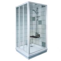RAVAK APSS - 80 fix zuhanykabin oldalfal - pearl műanyag - fehér kerettel (1 DB ZUHANYKABIN OLDALFAL!)
