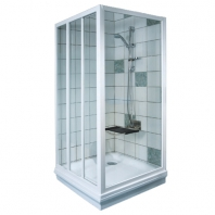 RAVAK APSS - 80 fix zuhanykabin oldalfal - transparent üveggel- fehér kerettel (1 DB ZUHANYKABIN OLDALFAL!)