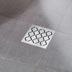 RAVAK hullámmintás SN 501 padlóösszefolyó, króm színű, 105x105/50 mm