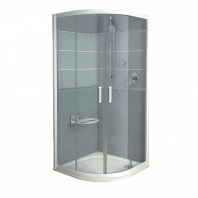 RAVAK Rapier NRKCP4 - 100, negyedköríves zuhanykabin - transparent üveggel- szatén kerettel