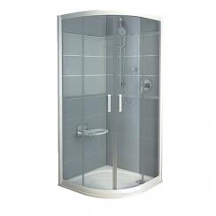 RAVAK Rapier NRKCP4 - 80, negyedköríves zuhanykabin - grape üveggel - szatén kerettel