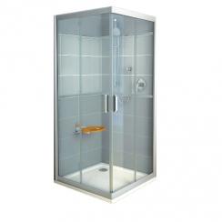 RAVAK Rapier NRKRV2 - 80, szögeletes zuhanykabin - transparent üveggel- fehér kerettel