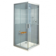 RAVAK Rapier NRKRV2 - 90, szögeletes zuhanykabin - grape üveggel - fehér kerettel