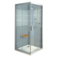 RAVAK Rapier NRKRV2 - 90, szögeletes zuhanykabin - transparent üveggel - szatén kerettel