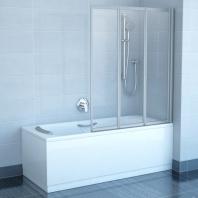 RAVAK VS3 130 háromelemes, harmonika rendszerű kádparaván, fehér kerettel - rain műanyag betétlemezzel