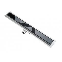 Roltechnik rozsdamentes zuhanyfolyóka, BLACK GLASS (fekete üveg) betéttel, 800 mm