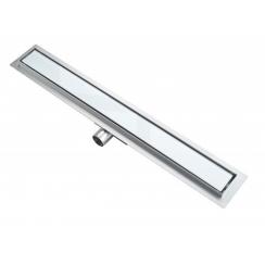 Roltechnik rozsdamentes zuhanyfolyóka, WHITE GLASS (fehér üveg) betéttel, 800 mm
