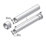 Saunier Duval egyenes hosszabbítócső, l = 2000mm, SDC 60/100