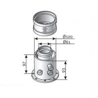 Saunier Duval függőleges indítóidom, mérőcsonkkal, SDH 60/100