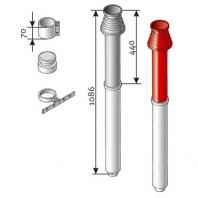 Saunier Duval füstgázkivezető tetőelem, SDC 80/125, vörös