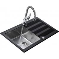 TEKA LUX 86 1B 1D fekete üveg rozsdamentes acél mosogató